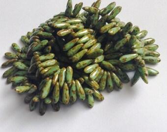 50ct 3x11mm Green Picasso Czech Glass Dagger Beads