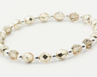 Sun Kissed | Gold Stretch Bracelet | Elastic Bracelet | Minimalist Stretch Bracelet | Stacking Bracelet | Bracelet - S, M, L - 1BRC0012SS