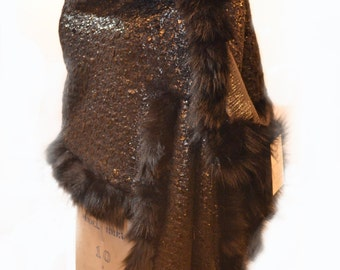 Reversible Black/Metallic Shawl with fox fur