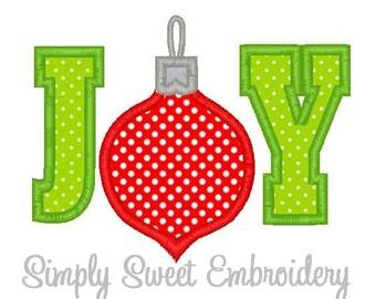 JOY Christmas Machine Embroidery Applique Design