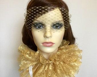 Gold Masquerade Veil - Gold Venetian Mask.