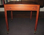 Mid Century Modern Danish Rosewood Side Table with Drawer, Casters, Retro 1960s, TheRetroLife