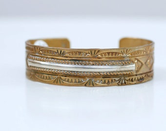 1970s Native American brass and sterling cuff / 70s vintage southwestern tribal brass cuff with silver bracelet
