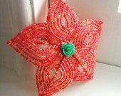 Coral Bloom - coral and Turquoise French Beaded Flower Hair Clip