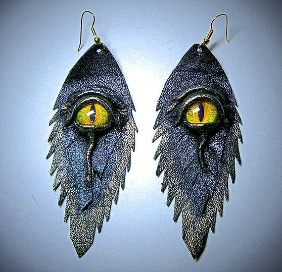 Dragon eye black antiqued genuine leather earrings.  Leather Feather earrings. Halloween earrings. Handmade leather earrings.