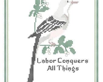 Oklahoma State Bird, Flower and Motto Cross Stitch Pattern PDF