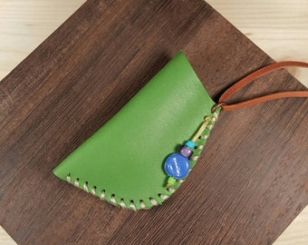 Green leather pouch - amulet bag - Native American medicine bag - fashionable unique leather jewelry handmade using upcycled leather