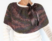Knit Poncho Cape, Ombre Dark Brown Green Thick Shrug, Warm Winter Cover-up, Christmas Gift