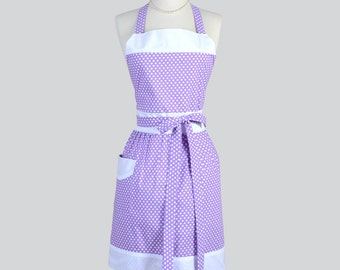 Full Womens Aprons , Cute Vintage Kitchen Cooking Womans Apron in Purple Lavender and White Polka Dot Retro Chef Apron Personalize