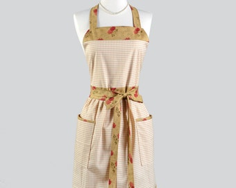 Full Bib Womens Aprons - Down Home Vintage Style Womens Apron in Beige and Rose Floral with 2 Big Pockets One of a Kind