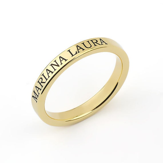 3mm Engraved 14k Gold Flat Wedding Band - Mothers Ring   Custom Name   14k Gold Ring with Name