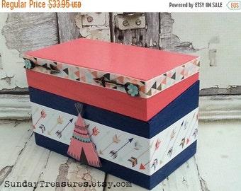 Fall Sale ARROW Recipe Box / Craft Box / Organizing Storage Box / Candy Box / Wood Trinket Memory Keepsake Box / Coral Navy / Hippie Boho Tr