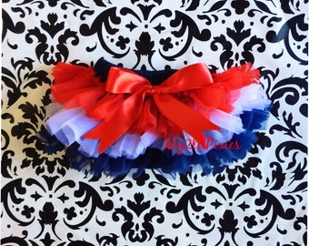 Patriotic TUTU Bloomers, ruffles all the way around , front and back ruffles, BLOOMERS, baby bloomers, bloomer, tutu diaper cover