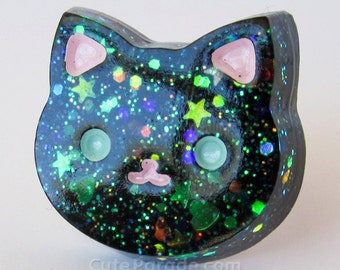 Glittery Galaxy Black Kitty Cat Resin Ring Kawaii Lolita Fairy Kei Creepy Cute Pastel Goth