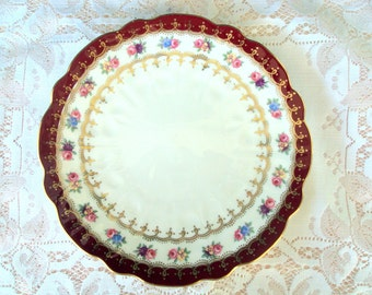 Vintage Aynsley Bone China,England,1950's,Maroon Scalloped Border, Gold Design,Floral Garland Band,Dining Serving,Luncheon Plate,Replacement