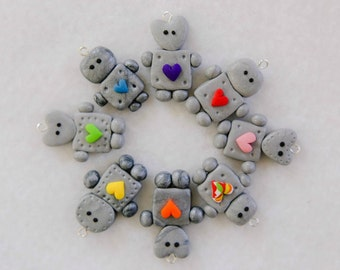Polymer Clay Robot Charms, Set of 5