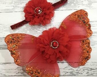 Newborn Butterfly Wings, Red, Luxe Fancy Fairy Wings, Newborn Headband, Infant Headband, Photographer Prop, Newborn Photos, Baby Shower Gift