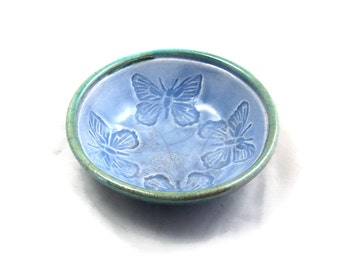 Butterfly Raku Offering Bowl Handmade Pottery