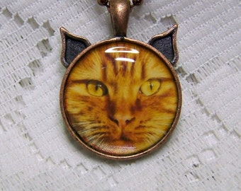 Orange Tabby Cat Pendant - Orange cat - Cat jewelry - Cat Necklace - Kitty - Cat Head jewelry - Pet lover art - Tabby Cat Jewelry - Cats