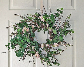 Cherry Blossom Wreath - Twig Wreath - Summer Wreath - Year Round Wreath - Rustic Twig Wreath - Country Wreath - Pink Cherry Blossoms - Ivy