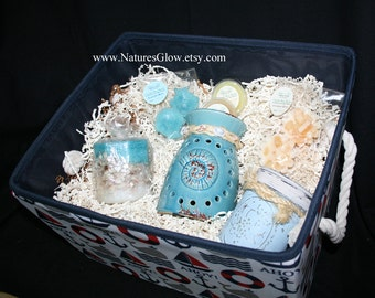 Candle Gift Basket - Nautical Storage Bin - Nautical Gift Basket - Beach Organizer Bin - Anchor Tote - Seashell Decor - Beach Gift for Bride
