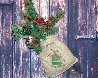 REDUCED - Burlap Holiday - Floral Arrangement - Rustic Decor - Christmas Bell -  Burlap Wall Decor - Rustic Cabin Decor