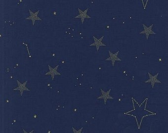 Michael Miller - Magic Collection by Sarah Jane - Lucky Stars in Navy Metallic