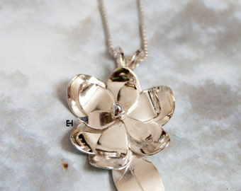 Handmade Sterling Silver Magnolia Flower Necklace