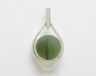 Sea Glass Jewelry - Sterling Sea Glass Marble Pendant