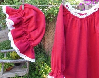Prairie Nightgown & Mob Cap Womens XSm - XLg Flannel Eyelet Lace Custom made