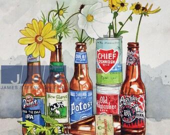 Wisconsin Beer Bouquet Watercolor Print