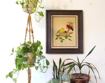 Vintage Embroidery Nesting Baby Birds and Moms