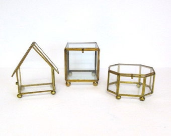 Glass and Brass Box Collection, House, Square, Octagon, Geometric Boxes, Polygon Boxes, Jewelry Boxes, Curio Boxes, Trinket Boxes,