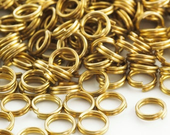 100 - 6mm Antique Gold Split Rings
