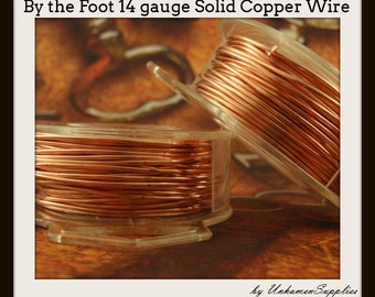 By the Foot 14 gauge Copper Wire - Solid Raw Metal - Dead Soft -  100% Guarantee