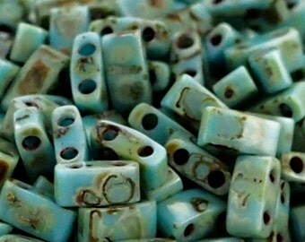 Opaque Turquoise Blue Picasso Miyuki Half Tila Beads - 2.3mm X 5mm - 100% Guarantee