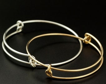14kt Rose or Yellow Gold Filled, 14kt Solid Yellow or Rose Gold or Sterling Silver Bangle Base - Unique Snag-Less Design