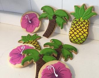 Tropical Hawiian Luau Decorated Cookies - 1 dozen