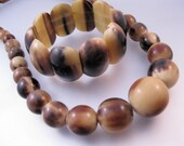 "Vintage Art Deco Natural Horn Necklace & Bracelet Set 20"" Graduated Barrel Bead Necklace 1930s Jewelry Jewellery"