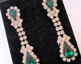 BIGGEST SALE of the Year Vintage Emerald Green Rhinestone Drop Dangle Earrings Pierced Costume Jewelry Jewellery