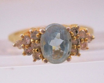 BIGGEST SALE of the Year Vintage 1.5ct Blue Topaz & CZ Gold Plated Ring Size 9 Jewelry Jewellery
