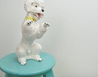 Vintage poodle statue, white dog statue, poodle figurine