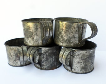 Antique Tin Cups, Rustic Tin Cup, Camping Cups, Hobo Cups, Galvanized Cup, Rustic Decor, Antique Tinware, 19th Century Tin, Restaurant Decor