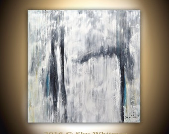 Large Painting 36 x 36 Original Modern Black White Contemporary Art Square Abstract Painting Handmade Oil Decor by Sky Whitman