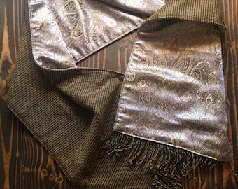 sophisticated two sided scarf, wool and paisley brocade