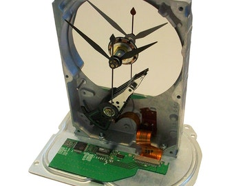 Hard Drive Clock Accented with Circuit Board & Golden Ribbon Cable. Got Geek Gift?