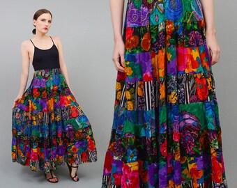 Vintage 90s Colorful Mixed Print Patchwork INDIA Cotton Gauze Full Circle Boho Gypsy Maxi Skirt Small Medium S M