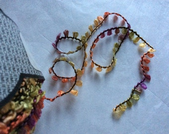 Muench Fabu Boucle Ribbon Yarn #4314 Lilac Orange Green Yellow 50 gram 79 yards - Light Spring Shades