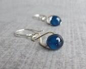 Navy Blue Dangle Earrings, Blue Lampwork Earrings, Dark Blue Earrings, Midnight Blue Handmade Earrings, Sterling Silver Wire Earrings Blue