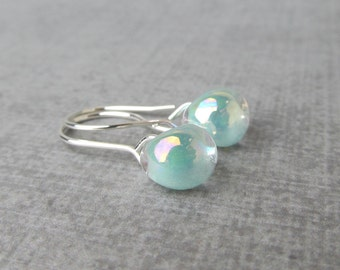 Pearly Seafoam Green Earrings, Earrings Seafoam, Small Silver Wire Earrings, Lampwork Earrings, Seafoam Earrings, Sterling Silver Dangles